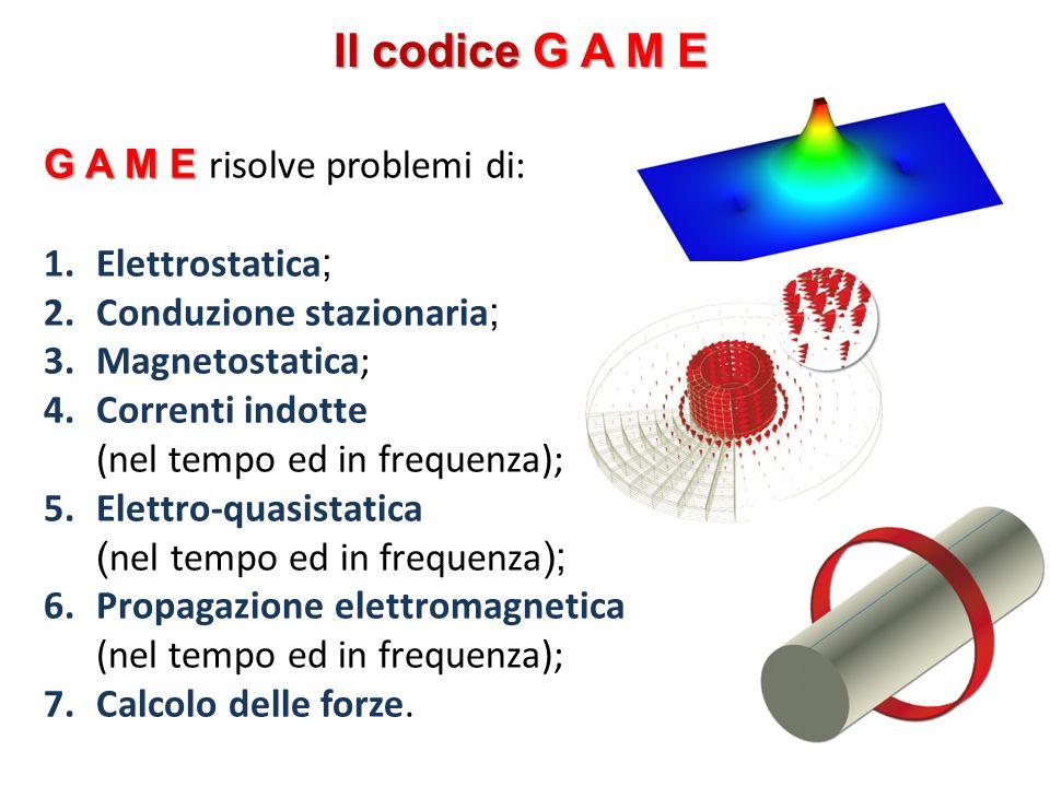 Il codice G A M E G A M E risolve problemi di: Elettrostatica;