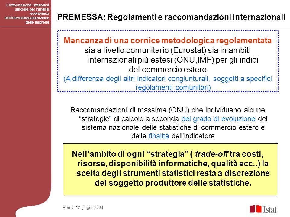 PREMESSA: Regolamenti e raccomandazioni internazionali