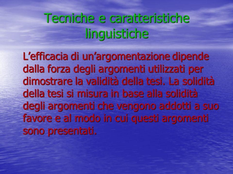 Tecniche e caratteristiche linguistiche