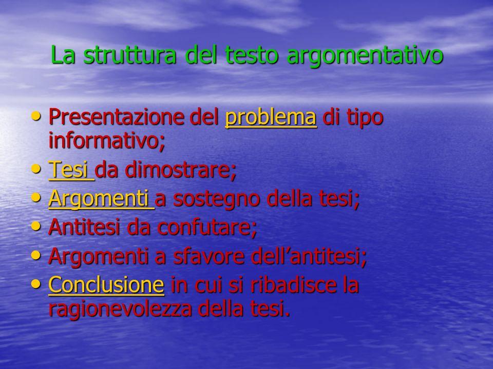 La struttura del testo argomentativo