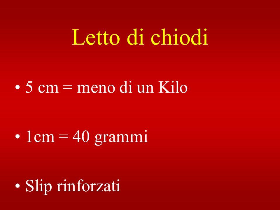 Letto di chiodi 5 cm = meno di un Kilo 1cm = 40 grammi Slip rinforzati