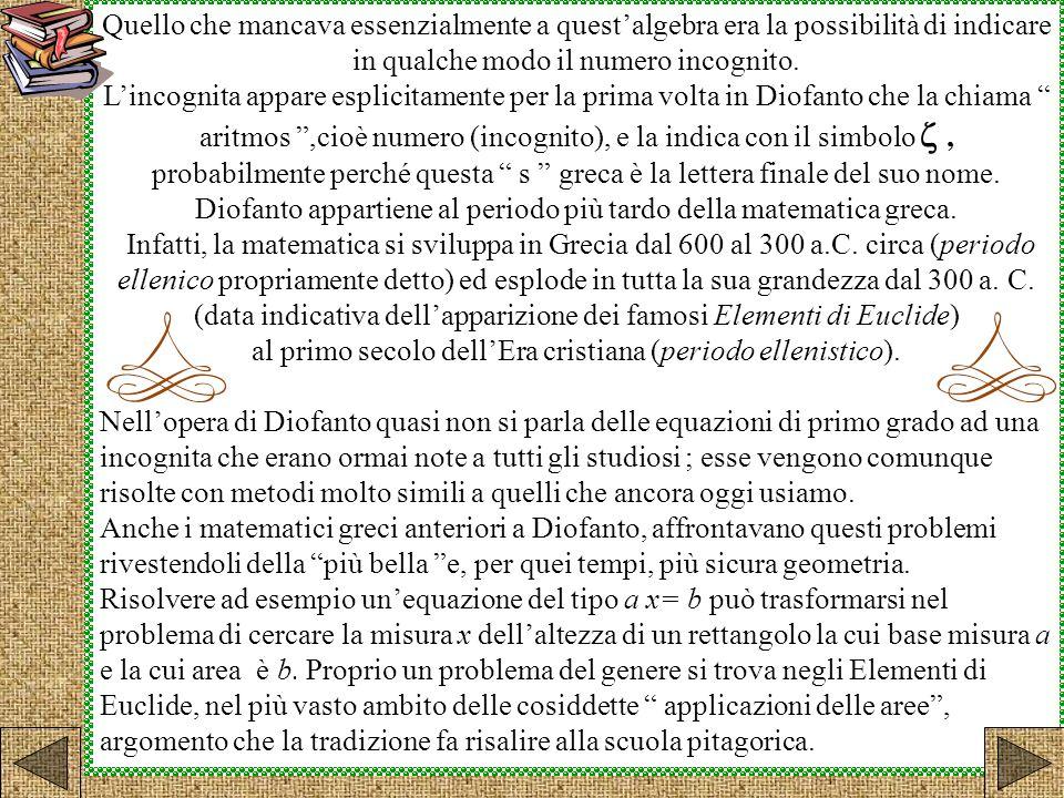 Diofanto appartiene al periodo più tardo della matematica greca.