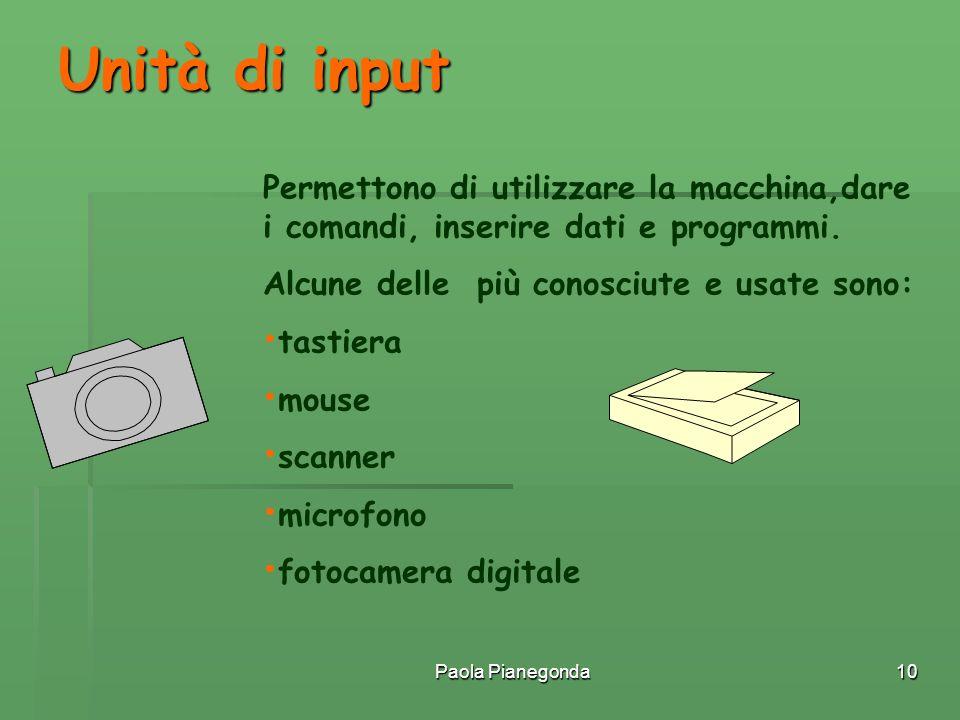 Unità di input Permettono di utilizzare la macchina,dare i comandi, inserire dati e programmi. Alcune delle più conosciute e usate sono: