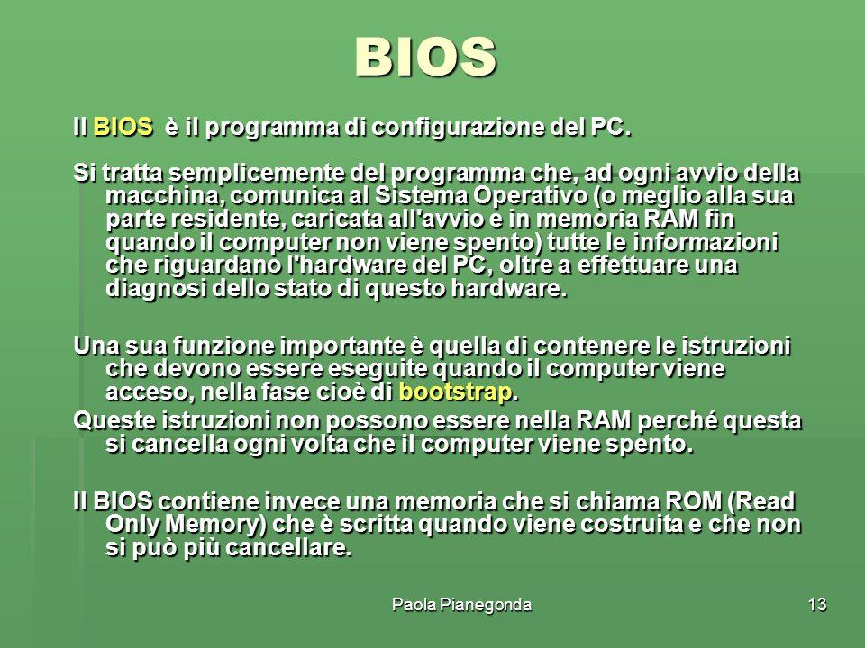BIOS Il BIOS è il programma di configurazione del PC.