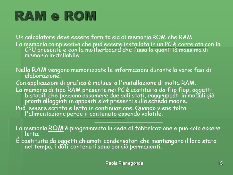 RAM e ROM Un calcolatore deve essere fornito sia di memoria ROM che RAM.