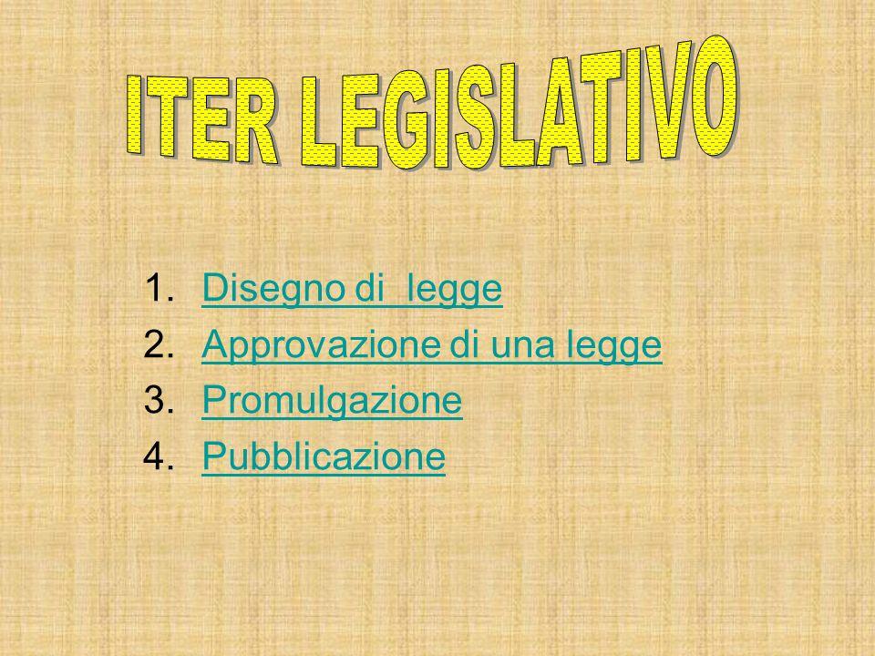 ITER LEGISLATIVO Disegno di legge Approvazione di una legge