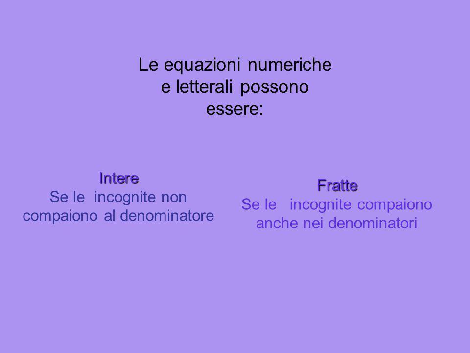 Le equazioni numeriche e letterali possono essere: