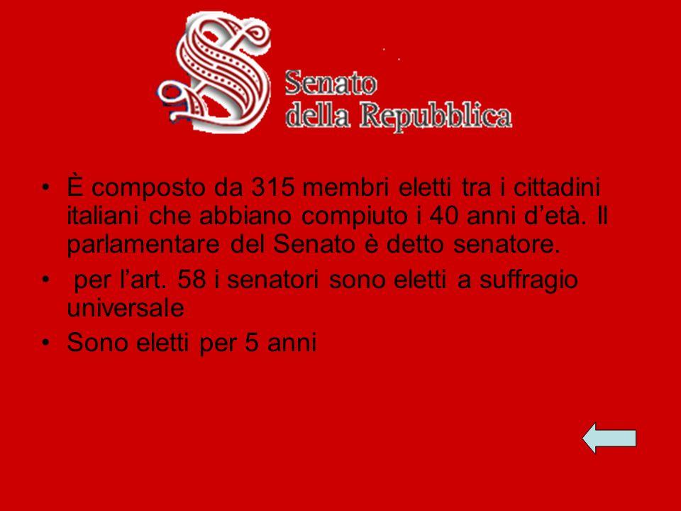È composto da 315 membri eletti tra i cittadini italiani che abbiano compiuto i 40 anni d'età. Il parlamentare del Senato è detto senatore.
