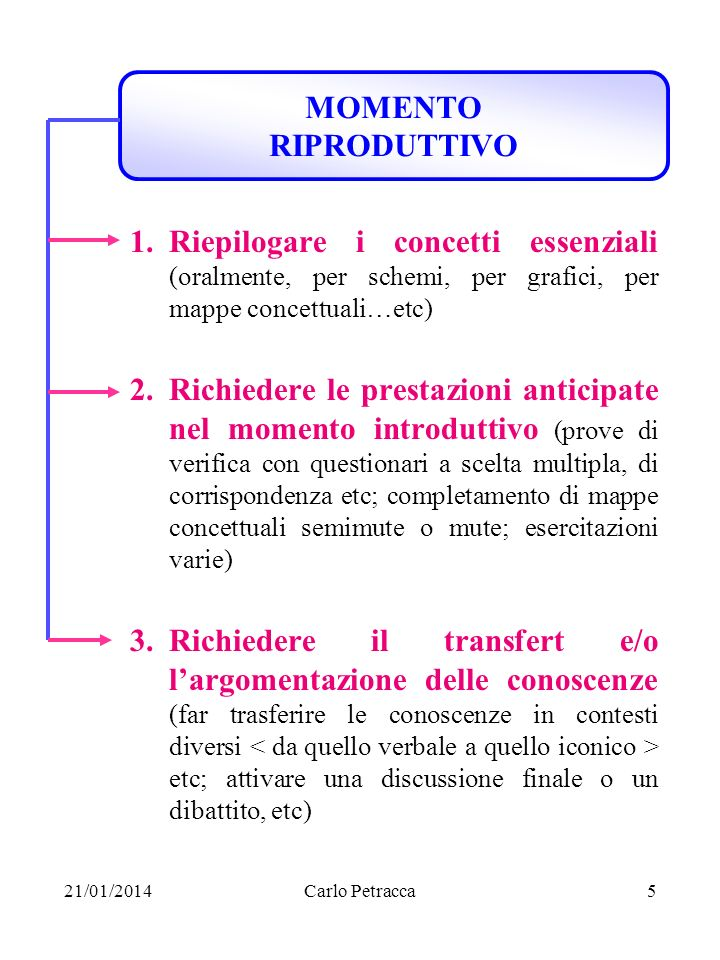MOMENTO RIPRODUTTIVO Riepilogare i concetti essenziali (oralmente, per schemi, per grafici, per mappe concettuali…etc)