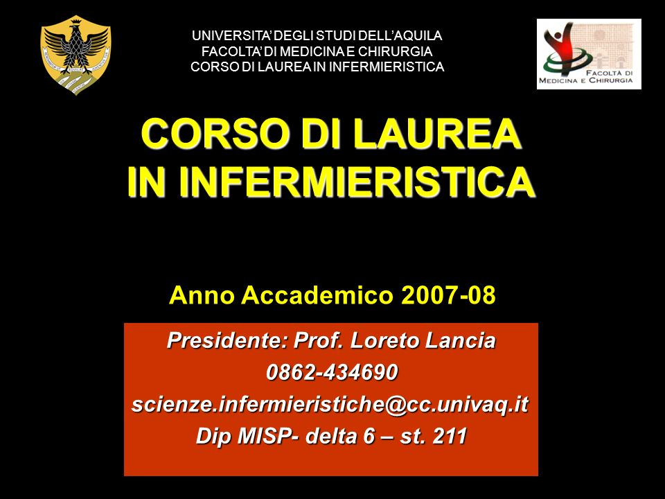 CORSO DI LAUREA IN INFERMIERISTICA