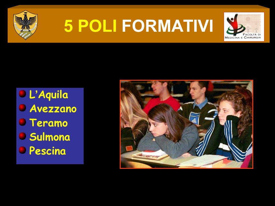 5 POLI FORMATIVI L'Aquila Avezzano Teramo Sulmona Pescina