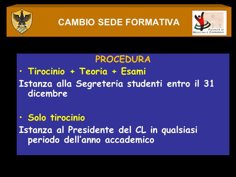 CAMBIO SEDE FORMATIVAPROCEDURA. Tirocinio + Teoria + Esami. Istanza alla Segreteria studenti entro il 31 dicembre.