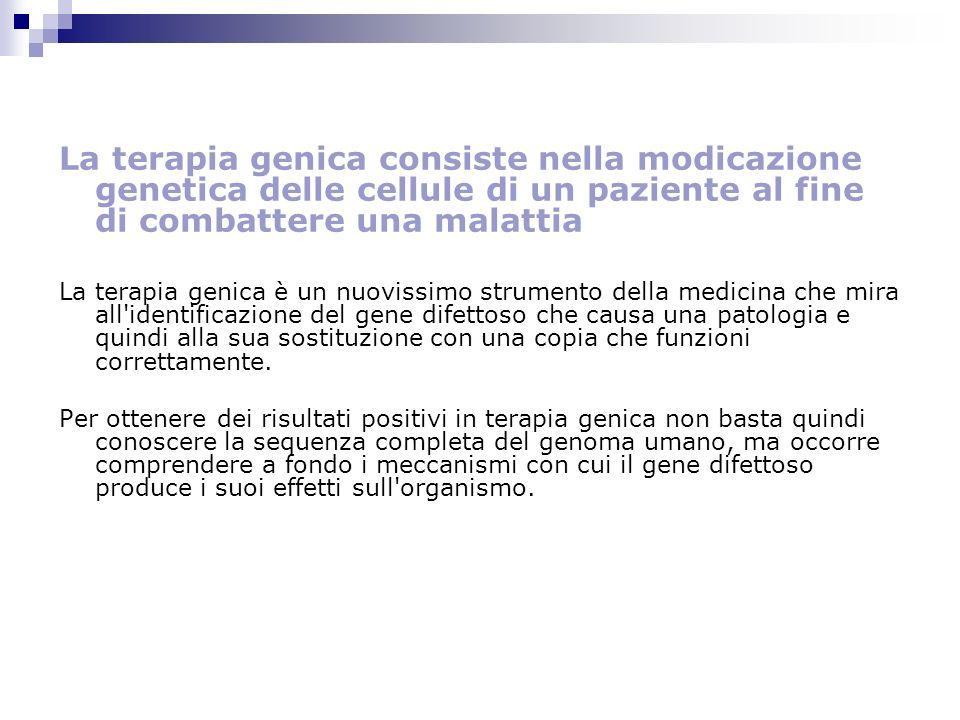 La terapia genica consiste nella modicazione genetica delle cellule di un paziente al fine di combattere una malattia