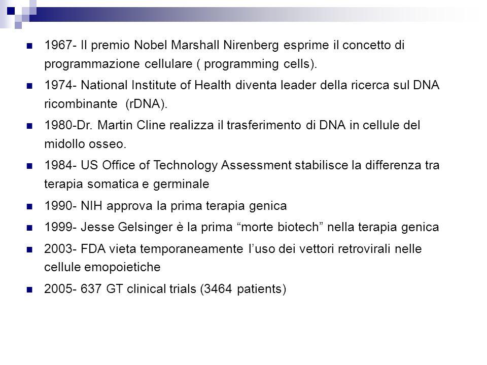 1967- Il premio Nobel Marshall Nirenberg esprime il concetto di programmazione cellulare ( programming cells).