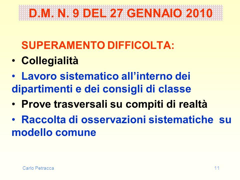 D.M. N. 9 DEL 27 GENNAIO 2010 SUPERAMENTO DIFFICOLTA: Collegialità