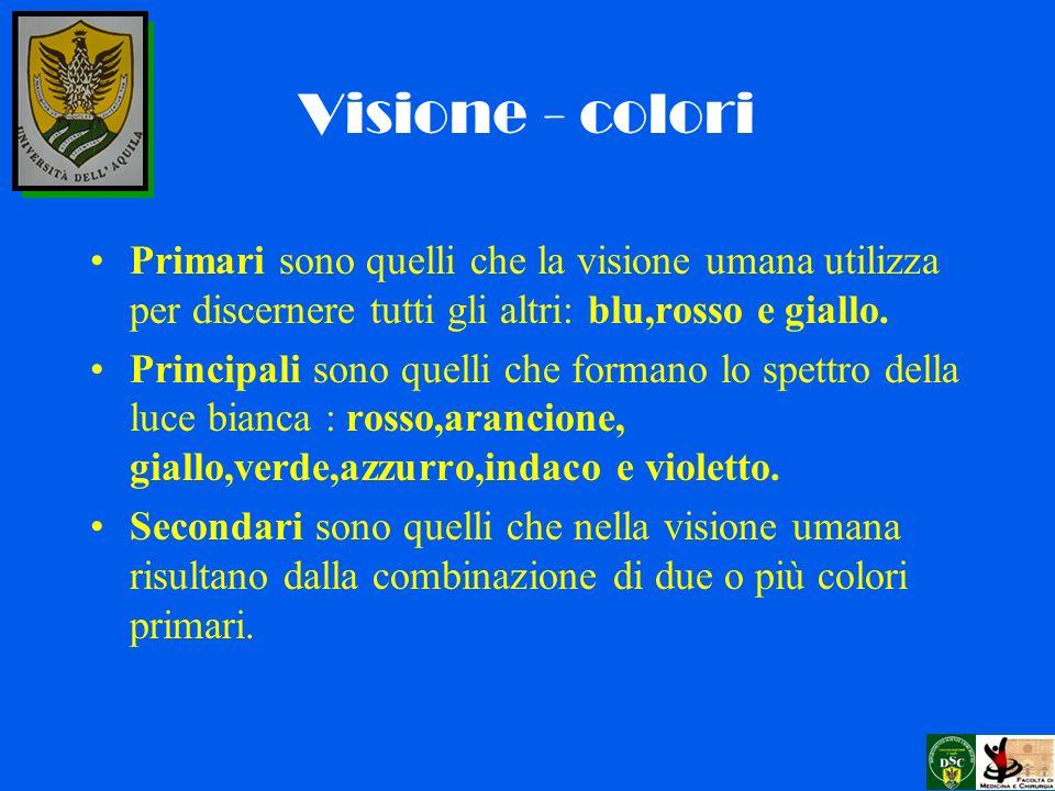 Visione - colori Primari sono quelli che la visione umana utilizza per discernere tutti gli altri: blu,rosso e giallo.