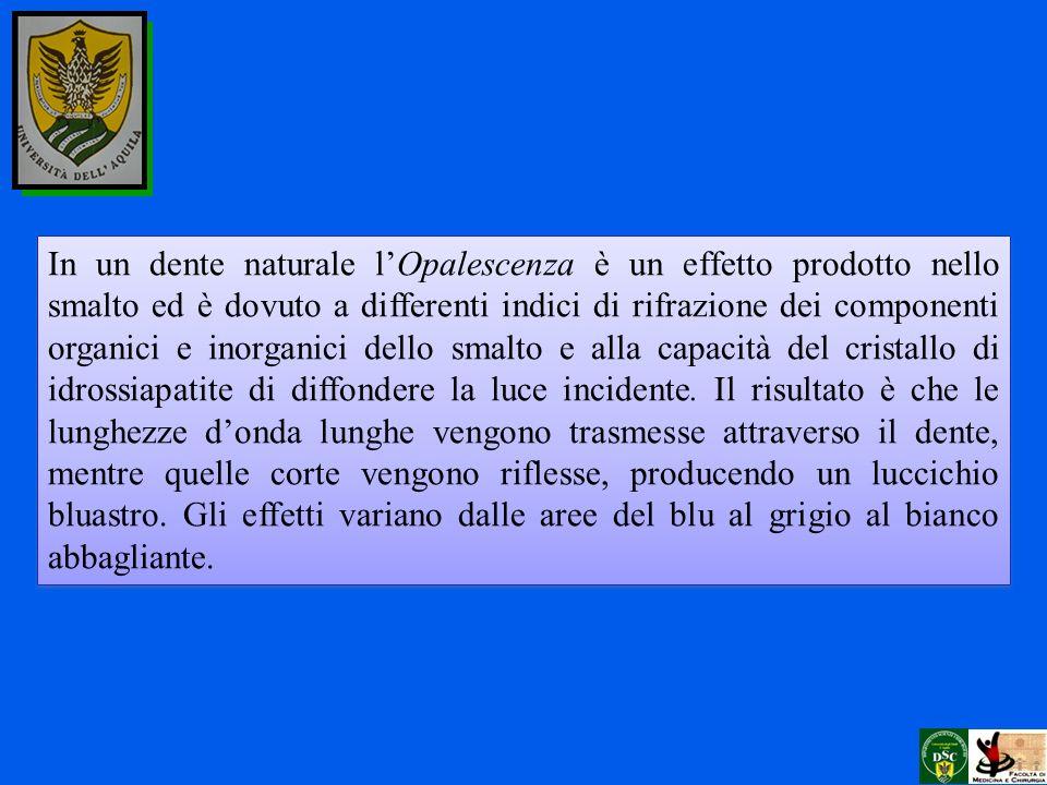 In un dente naturale l'Opalescenza è un effetto prodotto nello smalto ed è dovuto a differenti indici di rifrazione dei componenti organici e inorganici dello smalto e alla capacità del cristallo di idrossiapatite di diffondere la luce incidente.