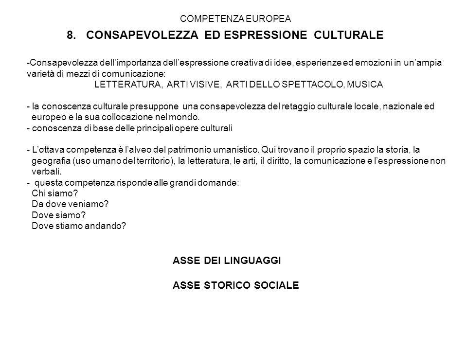 8. CONSAPEVOLEZZA ED ESPRESSIONE CULTURALE