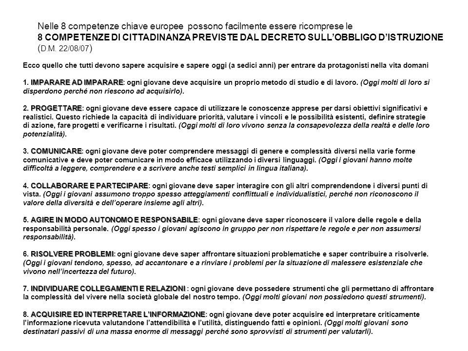 Nelle 8 competenze chiave europee possono facilmente essere ricomprese le
