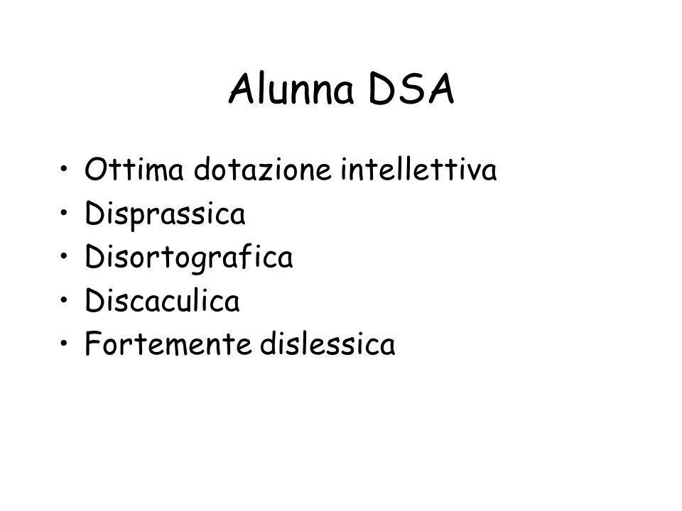 Alunna DSA Ottima dotazione intellettiva Disprassica Disortografica