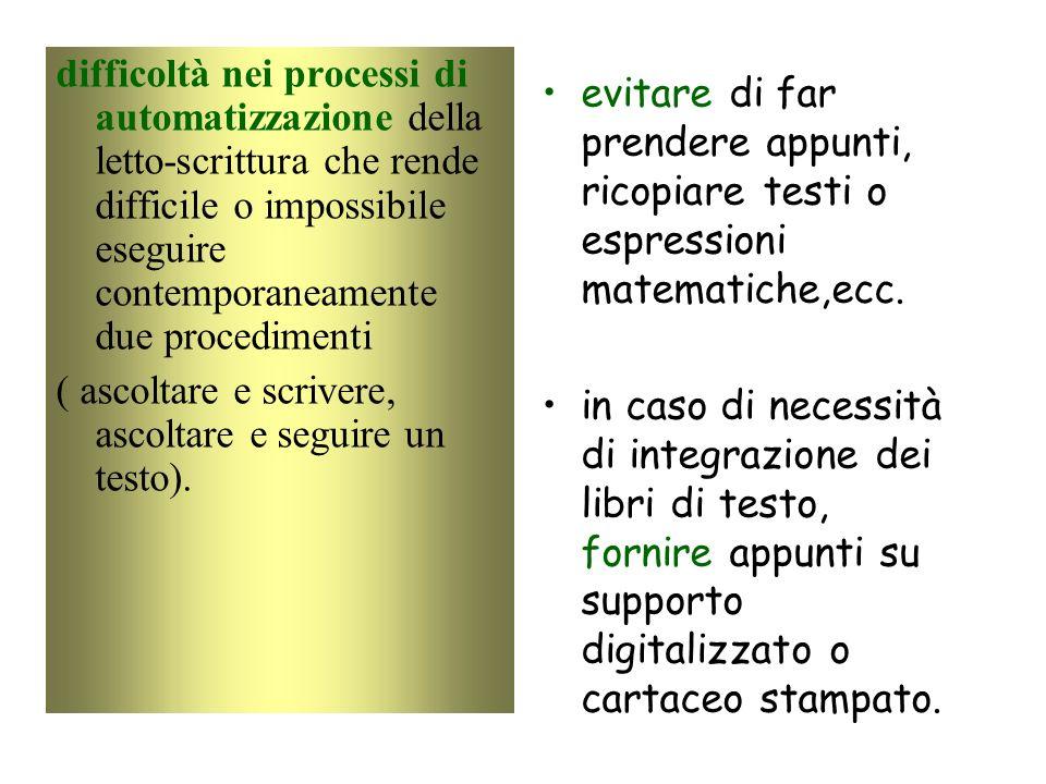difficoltà nei processi di automatizzazione della letto-scrittura che rende difficile o impossibile eseguire contemporaneamente due procedimenti