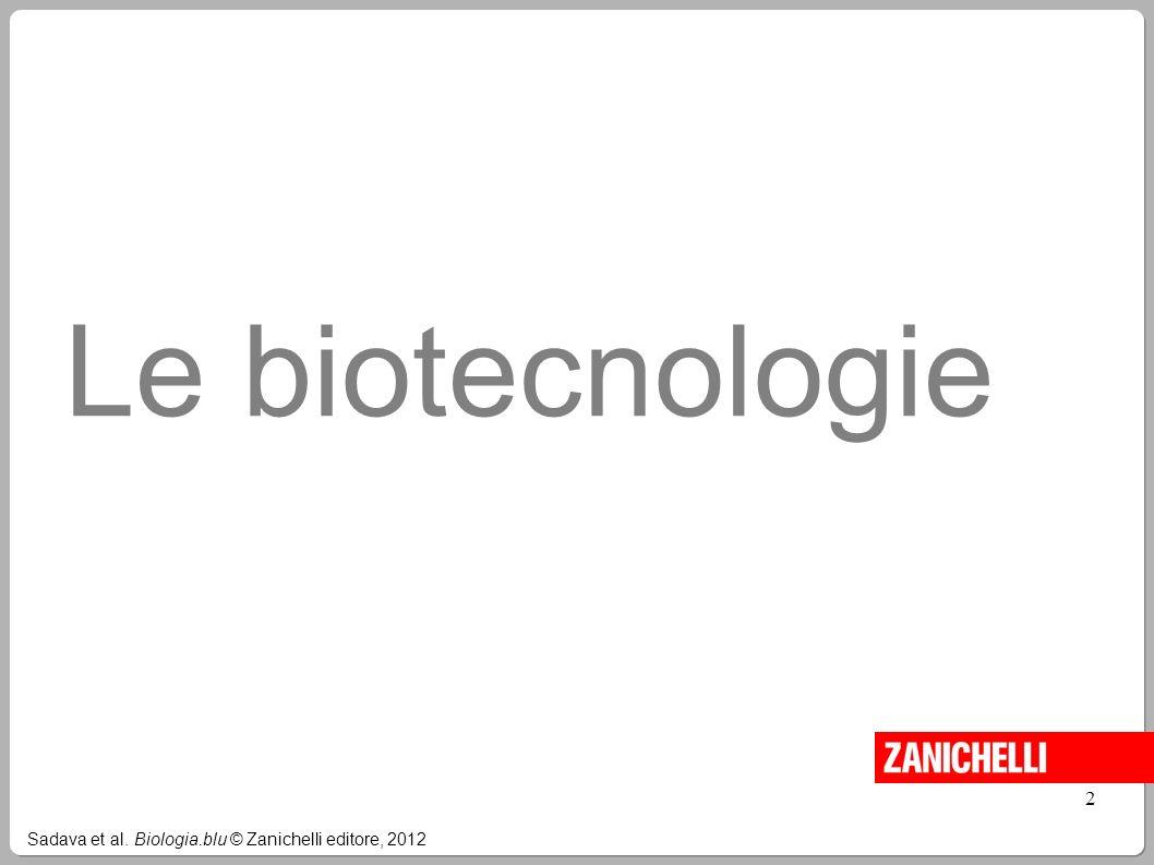 Le biotecnologie 2 Sadava et al. Biologia.blu © Zanichelli editore, 2012 2
