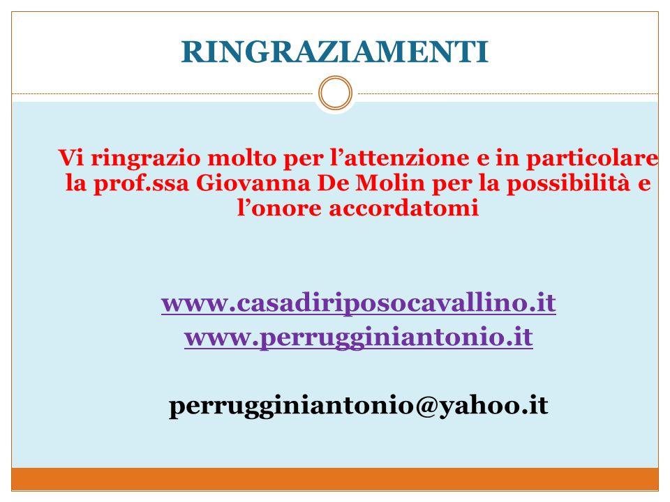 RINGRAZIAMENTI www.casadiriposocavallino.it www.perrugginiantonio.it
