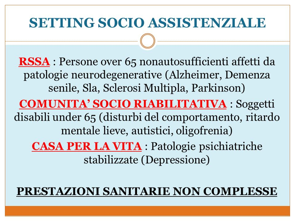 SETTING SOCIO ASSISTENZIALE