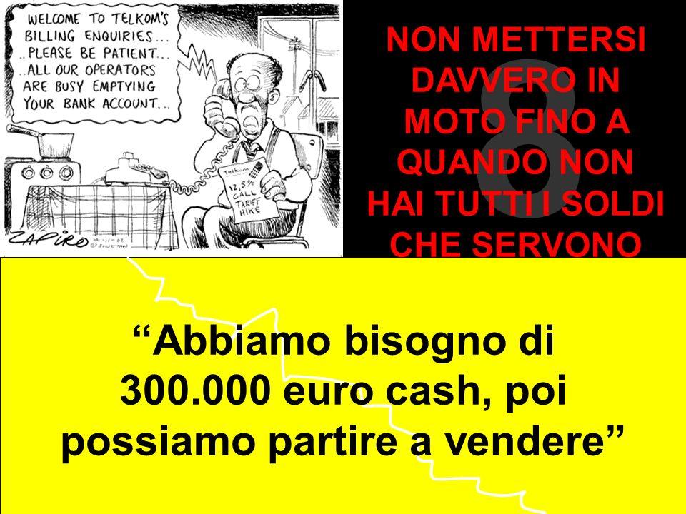 Abbiamo bisogno di 300.000 euro cash, poi possiamo partire a vendere