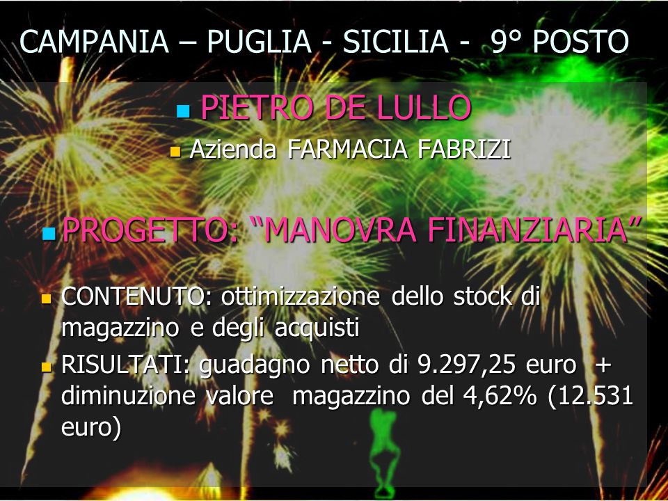 CAMPANIA – PUGLIA - SICILIA - 9° POSTO