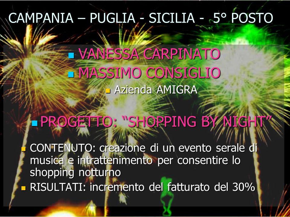 CAMPANIA – PUGLIA - SICILIA - 5° POSTO