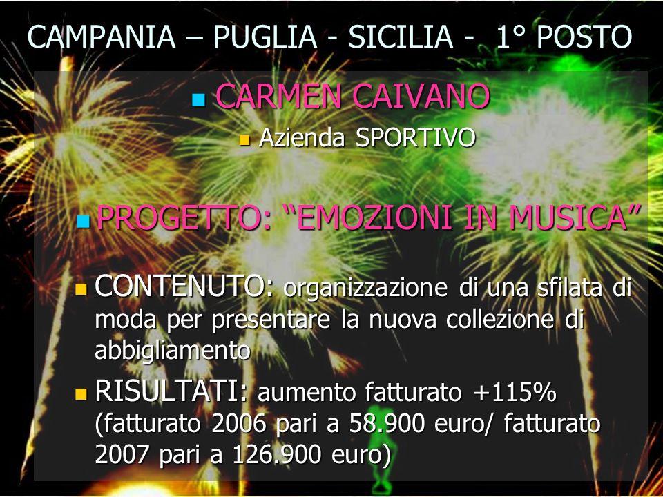 CAMPANIA – PUGLIA - SICILIA - 1° POSTO