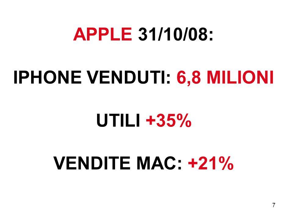 APPLE 31/10/08: IPHONE VENDUTI: 6,8 MILIONI UTILI +35% VENDITE MAC: +21%
