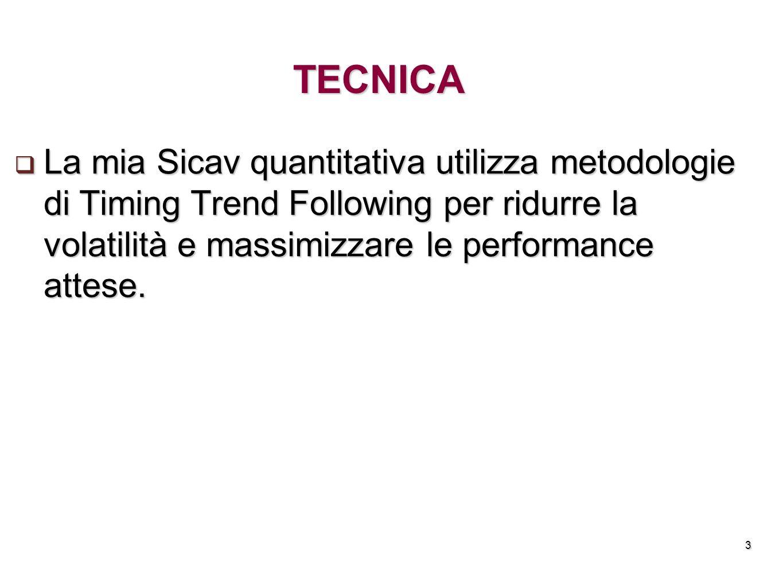 TECNICA La mia Sicav quantitativa utilizza metodologie di Timing Trend Following per ridurre la volatilità e massimizzare le performance attese.