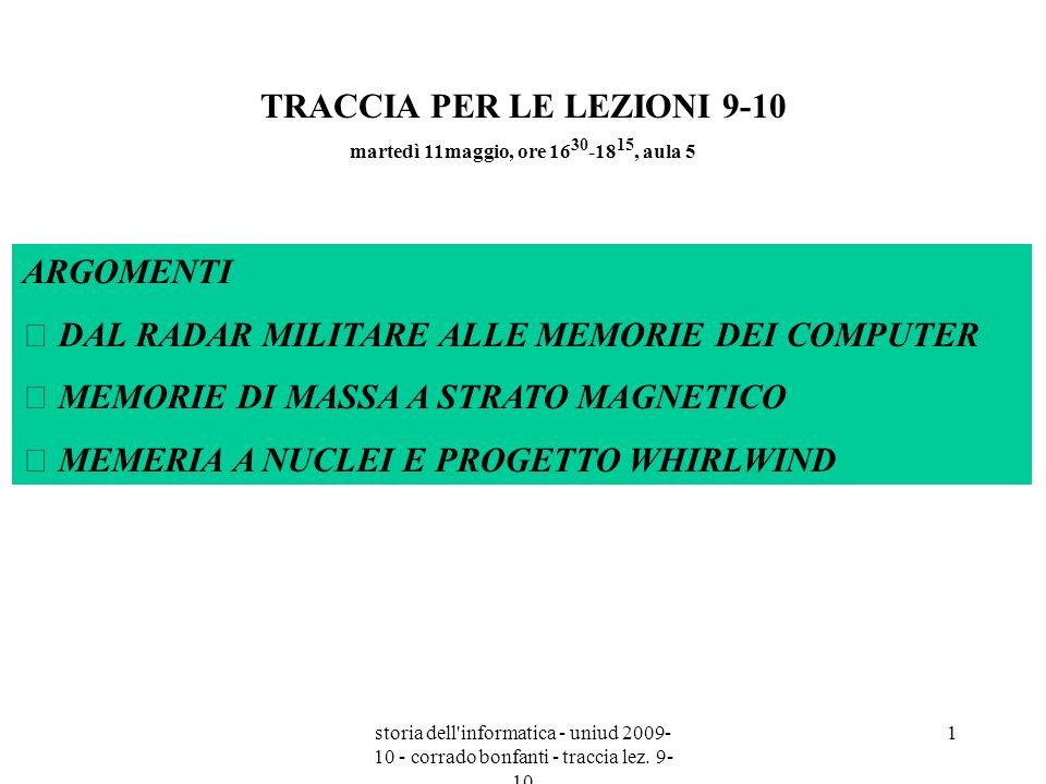 TRACCIA PER LE LEZIONI 9-10 martedì 11maggio, ore 1630-1815, aula 5