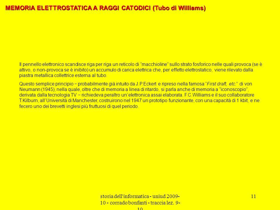 MEMORIA ELETTROSTATICA A RAGGI CATODICI (Tubo di Williams)