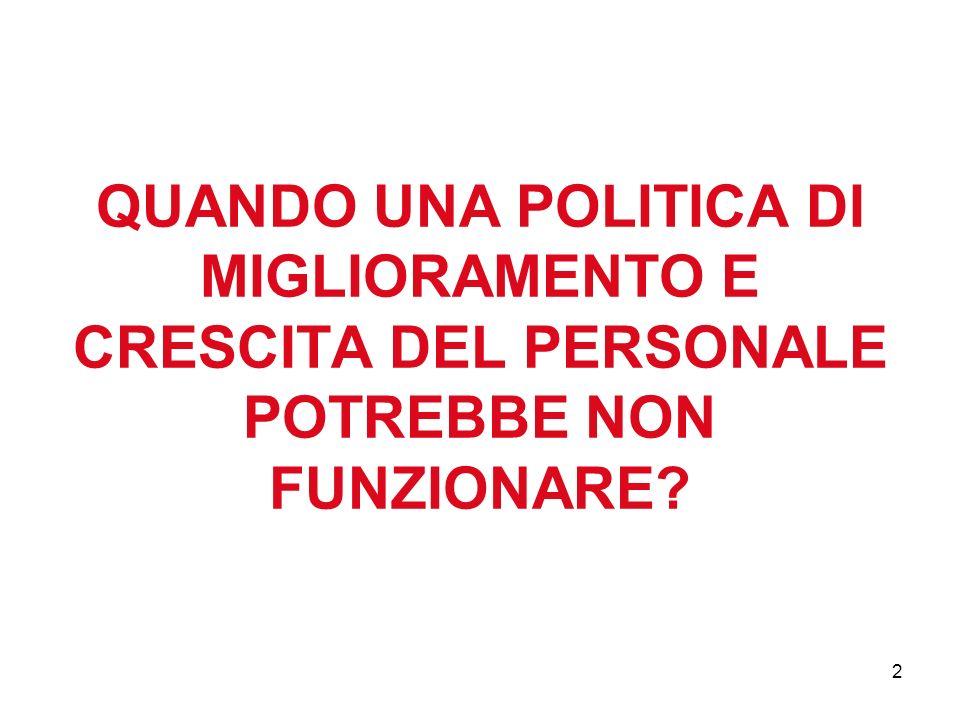 QUANDO UNA POLITICA DI MIGLIORAMENTO E CRESCITA DEL PERSONALE POTREBBE NON FUNZIONARE