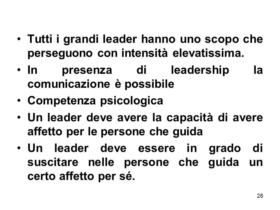 Tutti i grandi leader hanno uno scopo che perseguono con intensità elevatissima.