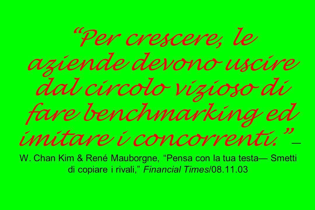 Per crescere, le aziende devono uscire dal circolo vizioso di fare benchmarking ed imitare i concorrenti. —W.