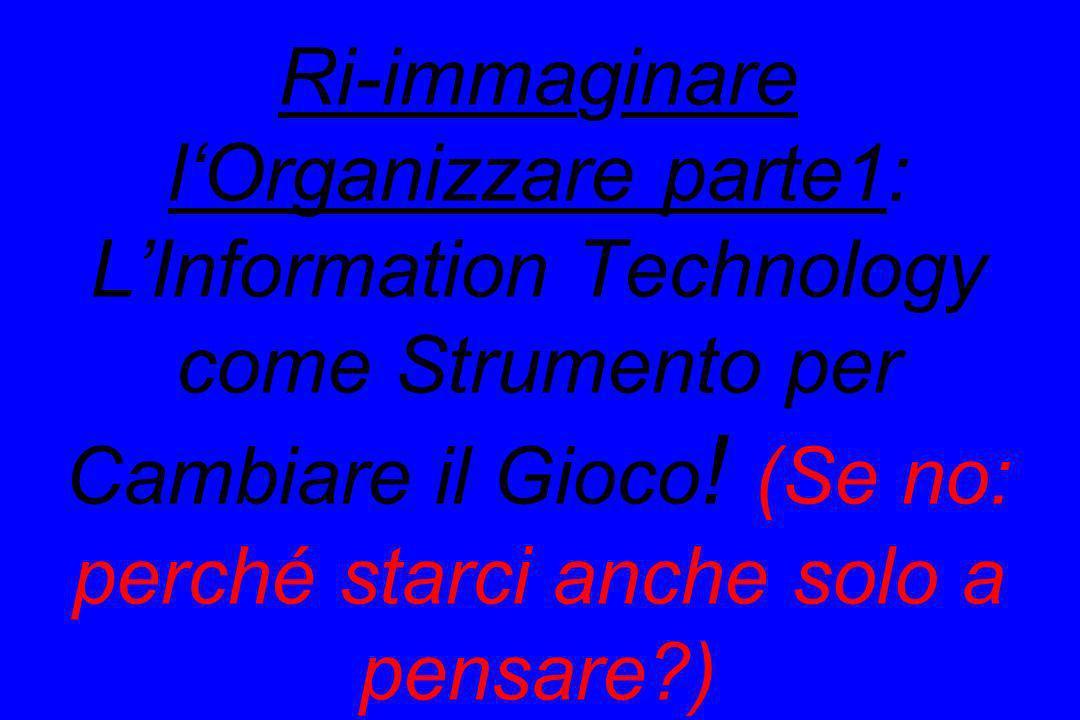 Ri-immaginare l'Organizzare parte1: L'Information Technology come Strumento per Cambiare il Gioco.