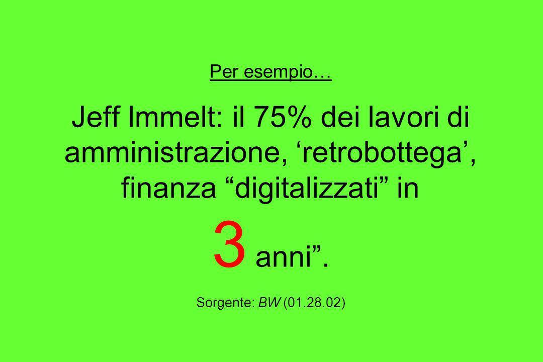 Per esempio… Jeff Immelt: il 75% dei lavori di amministrazione, 'retrobottega', finanza digitalizzati in 3 anni .