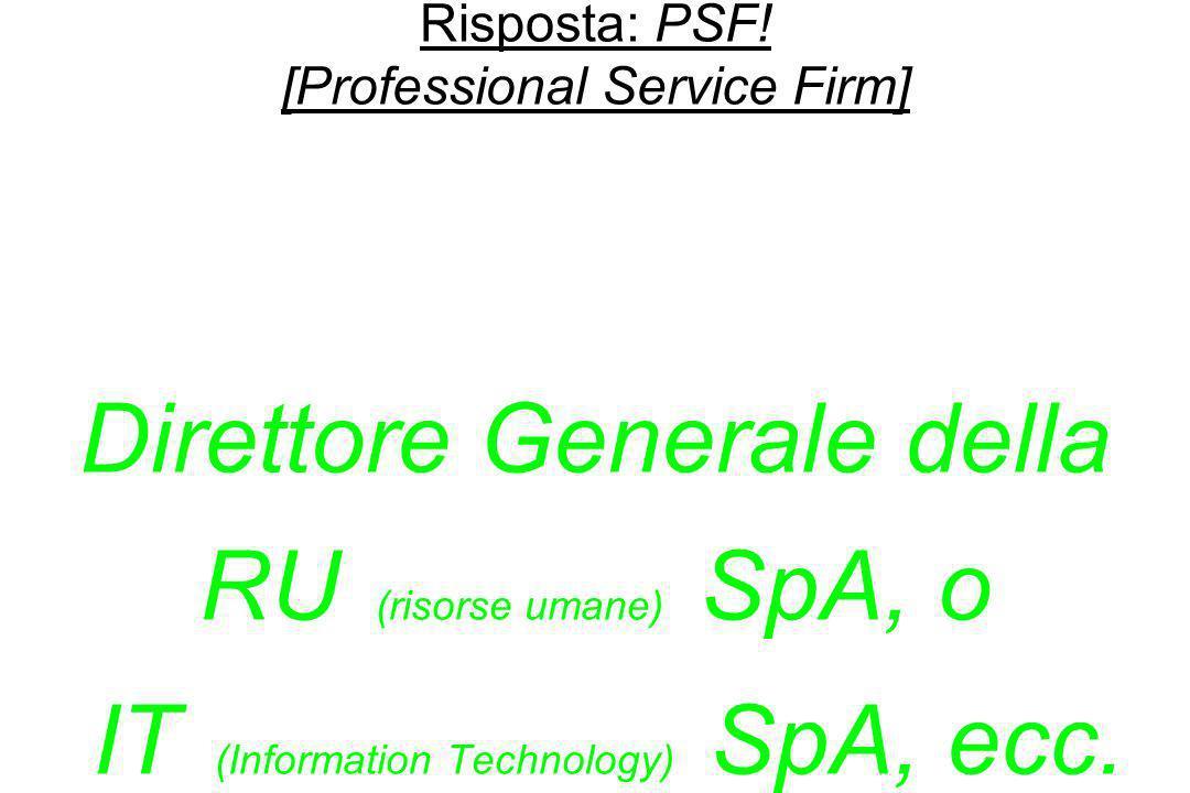 Risposta: PSF.