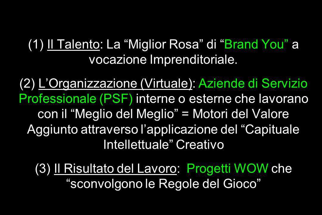 Grande Idea/ Meta-Idea / Motore Principale del Valore Aggiunto (1) Il Talento: La Miglior Rosa di Brand You a vocazione Imprenditoriale.