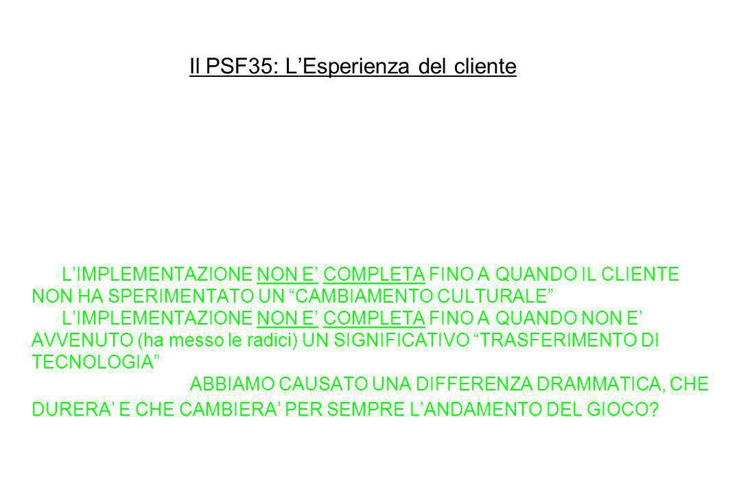 Il PSF35: L'Esperienza del cliente 11