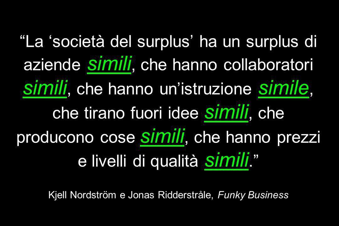 La 'società del surplus' ha un surplus di aziende simili, che hanno collaboratori simili, che hanno un'istruzione simile, che tirano fuori idee simili, che producono cose simili, che hanno prezzi e livelli di qualità simili. Kjell Nordström e Jonas Ridderstråle, Funky Business
