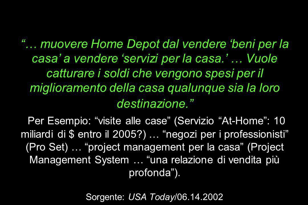 La meta di Nardelli (da 50 a 100 Miliardi di entro il 2005): … muovere Home Depot dal vendere 'beni per la casa' a vendere 'servizi per la casa.' … Vuole catturare i soldi che vengono spesi per il miglioramento della casa qualunque sia la loro destinazione. Per Esempio: visite alle case (Servizio At-Home : 10 miliardi di $ entro il 2005 ) … negozi per i professionisti (Pro Set) … project management per la casa (Project Management System … una relazione di vendita più profonda ).