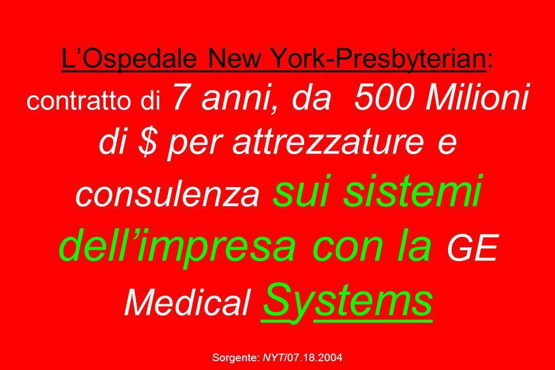 L'Ospedale New York-Presbyterian: contratto di 7 anni, da 500 Milioni di $ per attrezzature e consulenza sui sistemi dell'impresa con la GE Medical Systems Sorgente: NYT/07.18.2004