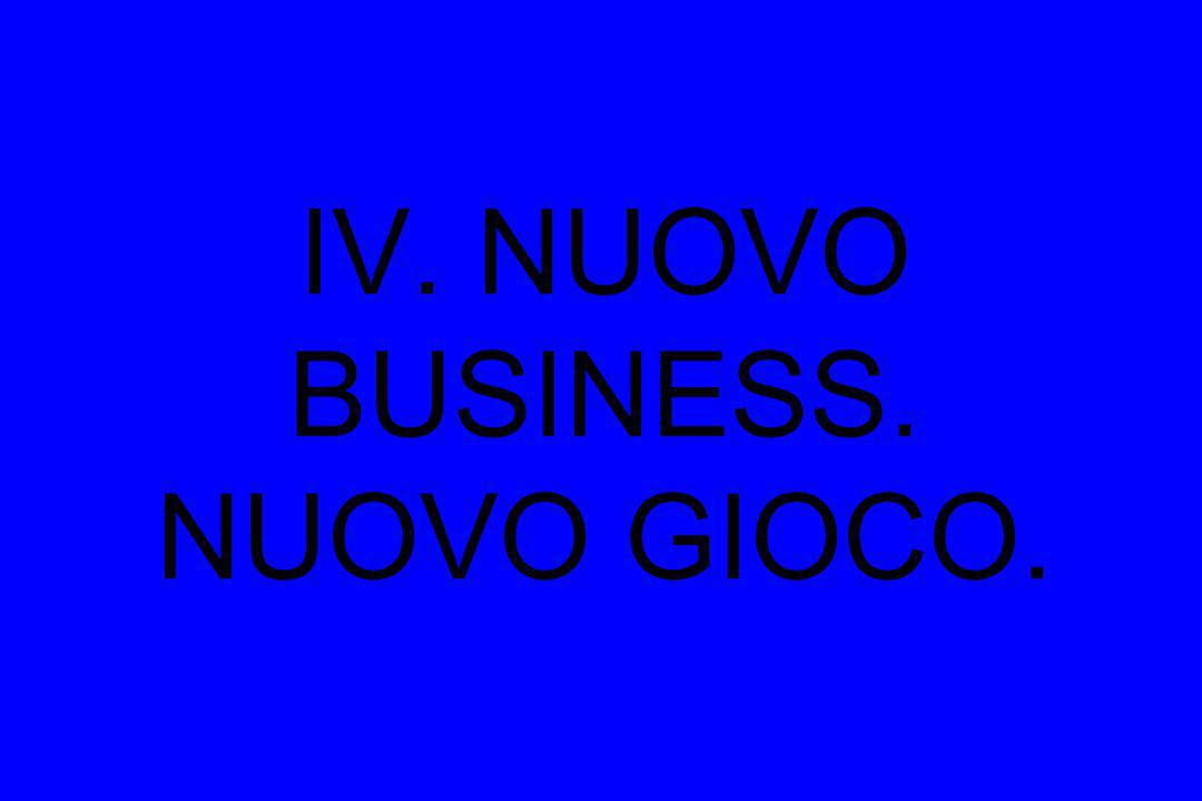 IV. NUOVO BUSINESS. NUOVO GIOCO.