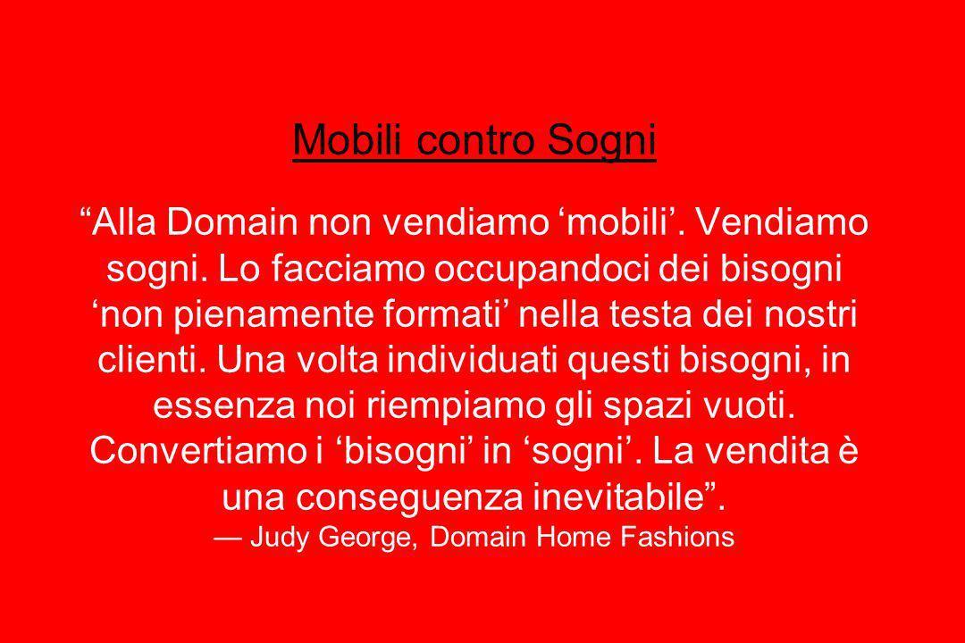 Mobili contro Sogni Alla Domain non vendiamo 'mobili'. Vendiamo sogni