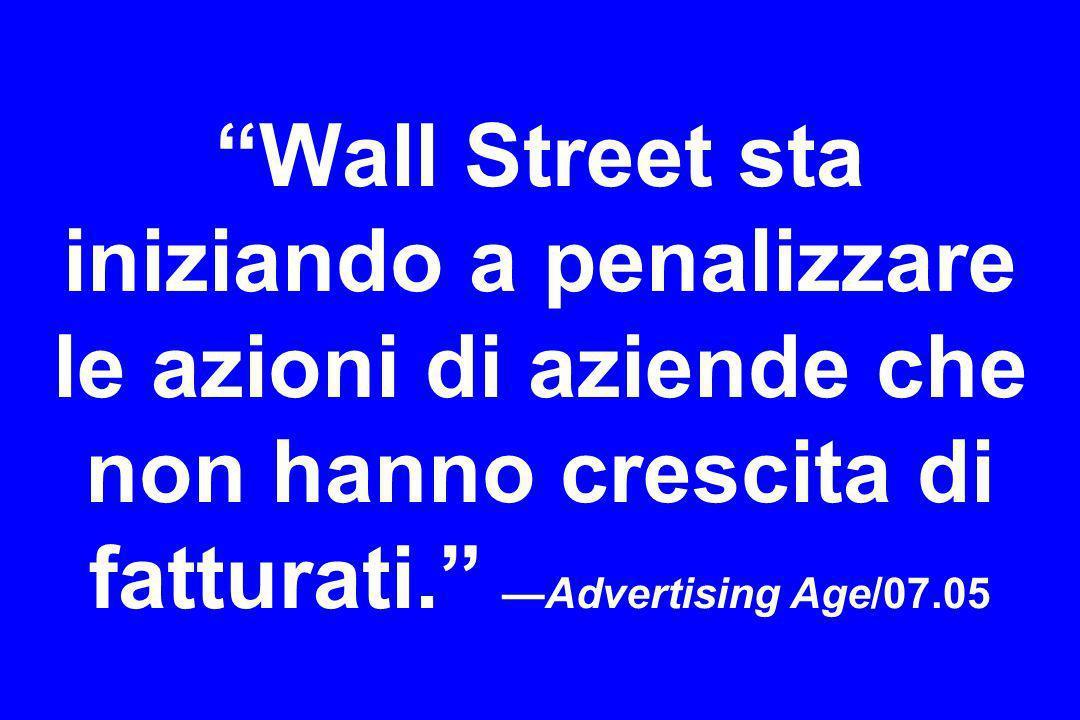 Wall Street sta iniziando a penalizzare le azioni di aziende che non hanno crescita di fatturati. —Advertising Age/07.05